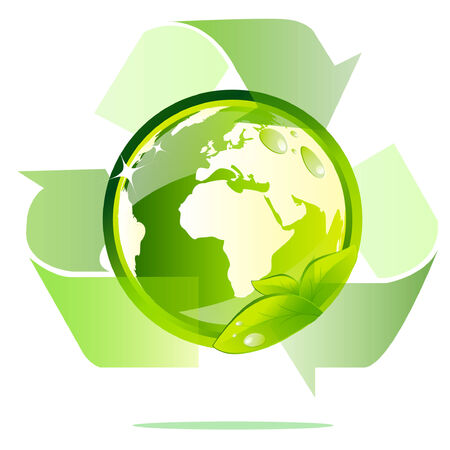 Eco earth woth recycle sign Stock Vector - 8628972