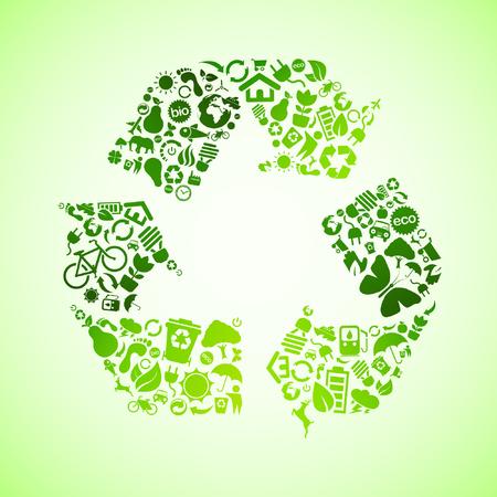 icono ecologico: Icono de signo de eco verde