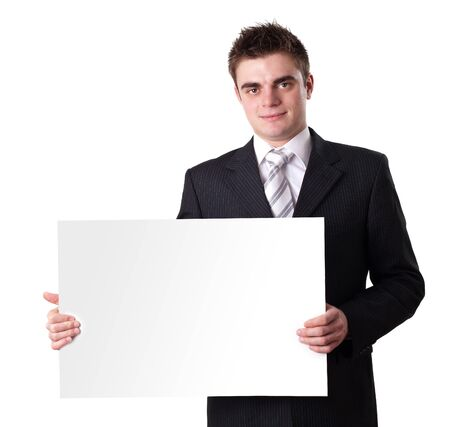 Businessman Holding Blank Sign  photo
