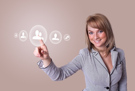 woman hand pressing Social Network icon Stock Photo - 8724525