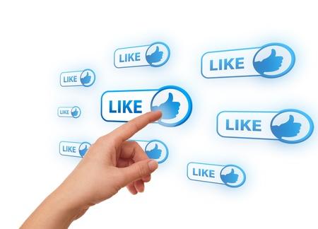 woman hand pressing Social Network icon photo