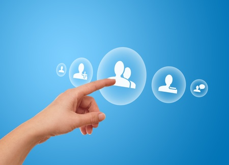woman hand pressing Social Network icon Stock Photo - 8725519