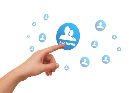 woman hand pressing Social Network icon Stock Photo - 8724510