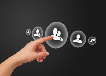 woman hand pressing Social Network icon Stock Photo - 8724520