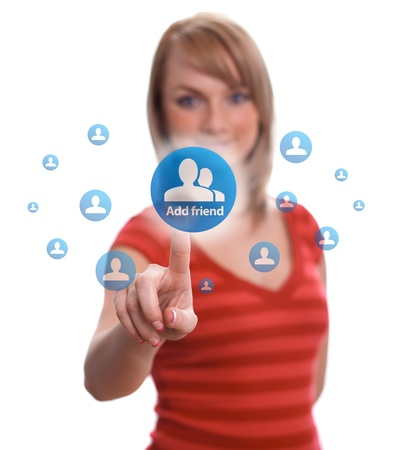 woman hand pressing add friend button Stock Photo - 9070678