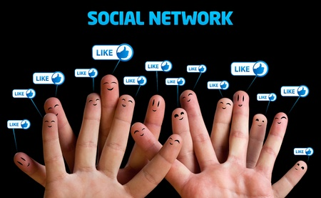 Happy group of finger smileys, social network theme Stock Photo - 9070692
