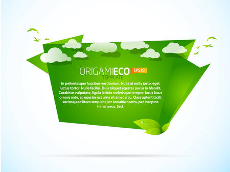 environmental friendly: Eco friendly green origami template with clouds  Illustration
