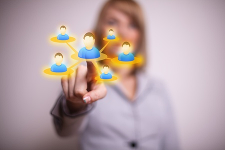 woman hand pressing Social network icon Stock Photo - 9114569