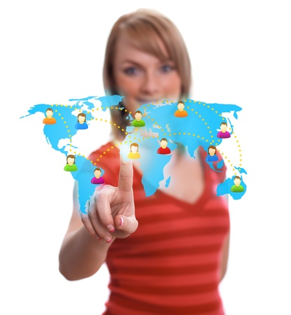 network map: woman hand pressing Social network icon