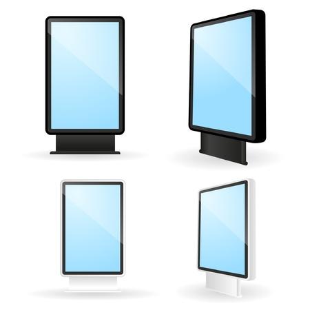 billboard posting: Set of blank illuminated exterior advertising billboards