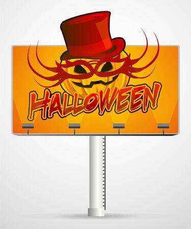 Halloween pumpkin in mask on an illuminated billboard Stock Vector - 9213682