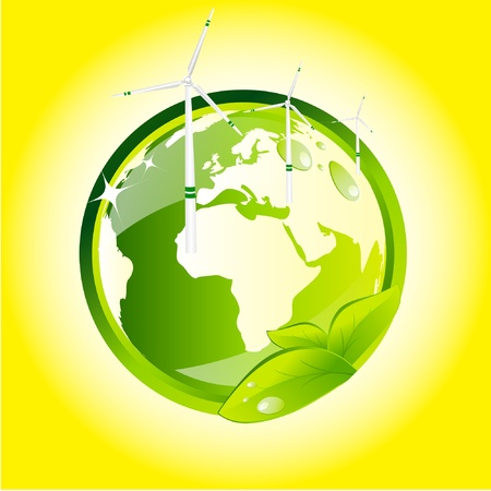 Eco globe with wind turbines  Stock Vector - 9213747