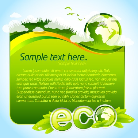 earth friendly: Green eco template with globe