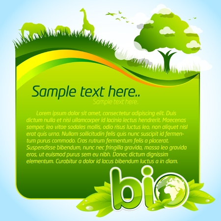 earth friendly: Green bio template with tree and wild life