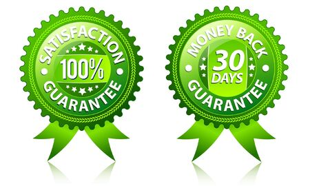 money back: Satisfaction and money back guarantee green labels  Illustration