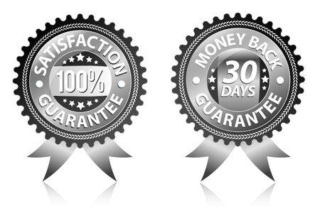 Satisfaction and money back guarantee black labels  Vector