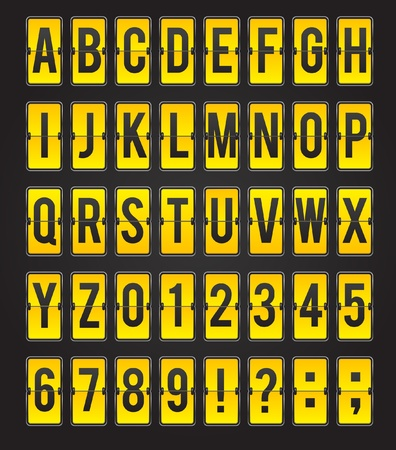 departure board: Yellow sleek abc flipping panel  Illustration