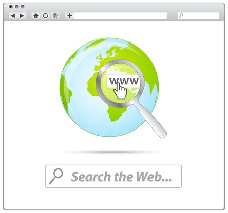 Web browser with search the web and earth icon  Stock Vector - 9209372
