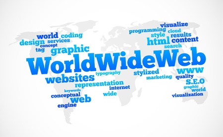 public service: world wide web global text cloud