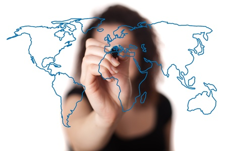 woman drawing the world map in a whiteboard (on bokeh) Stock Photo - 9249013