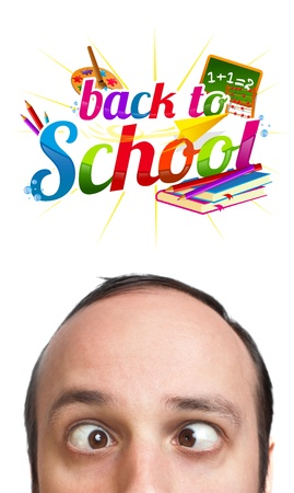 Young man with BACK TO SCHOOL sign over his head , isolated on white background  photo