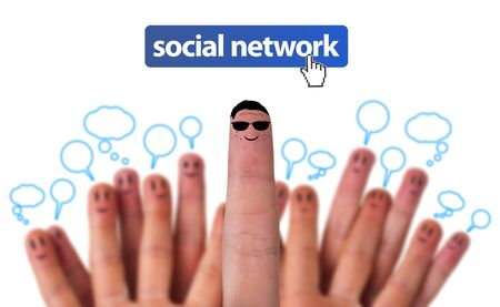 Happy group of finger smileys as social network with speech bubbles Stock Photo - 9288910