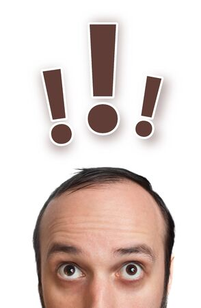 unanswered: Funny young man with exclamation mark over his head 2, isolated on white background