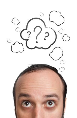 unanswered: Funny Young guy with question mark over his head, isolated on white