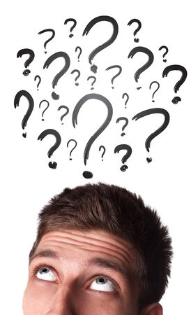 Young white Caucasian male adult has way too many questions in his head  Stock Photo - 9289044