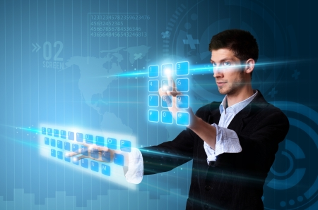touch screen hand: Man pressing modern touch screen buttons with a blue technology background Stock Photo