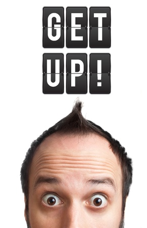 get up: Funny Young man with get up sign over head, isolated on white background