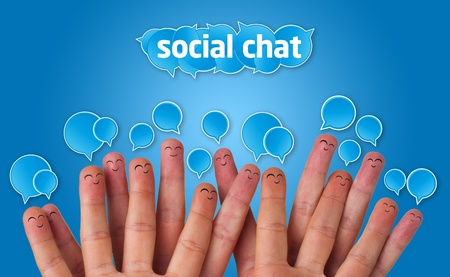 Happy group of finger smileys with social chat sign and speech bubbles Stock Photo - 9288931