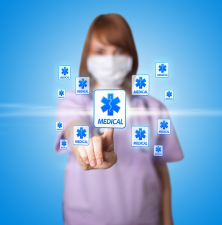 medical help: woman doctor pressing digital button ( Medical theme )