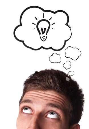 Young man with Speech Bubbles over his head, isolated on white background Stock Photo - 9289251