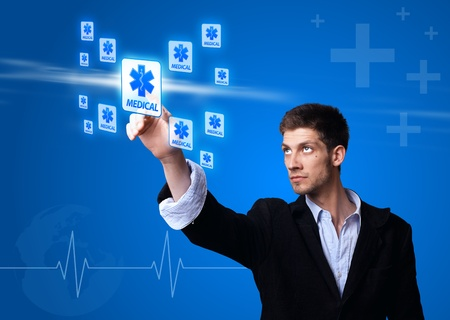 doctor pressing digital button ( medical theme )  photo