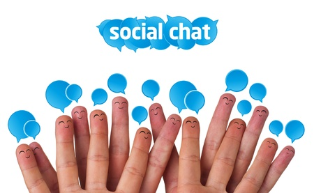 Happy group of finger smileys with social chat sign and speech bubbles Stock Photo - 9328459