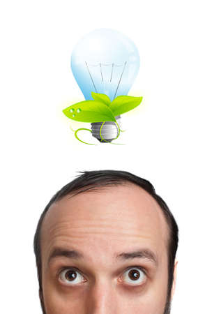 Funny young man with light  bulb over his head 2, isolated on white background photo