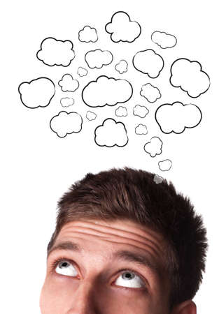 daydream: Young man with Speech Bubbles over his head, isolated on white background