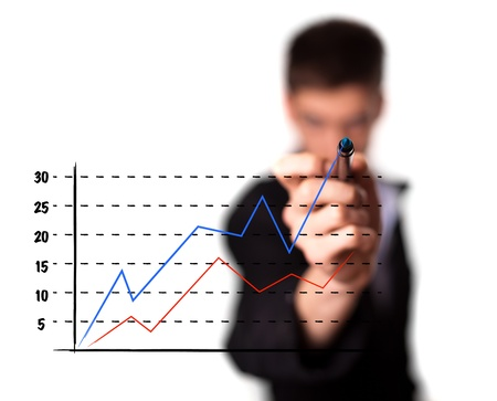 selling stocks: Businessman drawing a graph on a glass screen, isolated on white background. selective focus