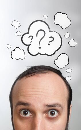 unsolvable: Funny Young guy with question mark over his head