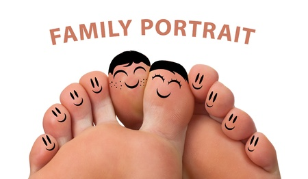 women having fun: Happy family portrait of finger smileys , isolated on white