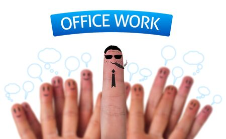 Happy group of finger smileys with office work sign and boss Stock Photo - 9342236