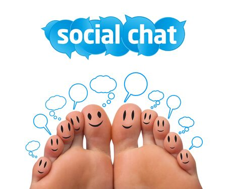Happy group of finger smileys with social chat sign and speech bubbles  Stock Photo - 9342248