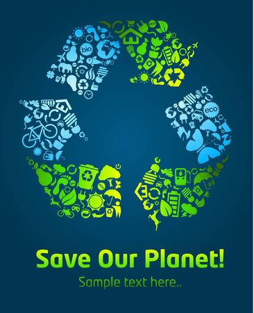 save icon: Save our planet eco icon poster template