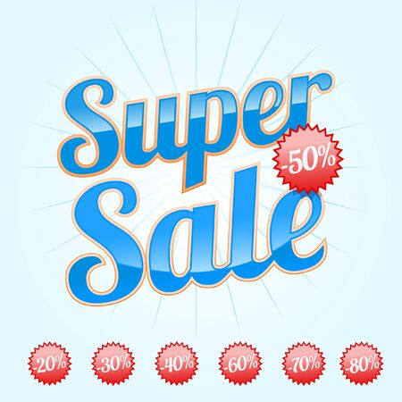 discount banner: Red Super Sale lettering with sale labels 2 Illustration