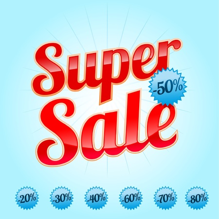 Red Super Sale lettering with sale labels  Stock Vector - 9342253