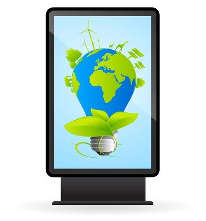 Illuminated billboard with eco light bulb Stock Vector - 9342345