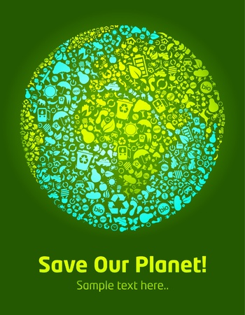Save our planet green poster template  Vector