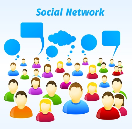 Colorful social network people with speech bubbles Stock Vector - 9342340