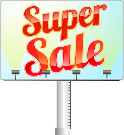 Billboard with red illuminated super sale sign  Stock Vector - 9342301
